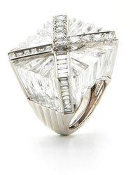 David Webb Envelope Rock Crystal And Diamond Ring - Metallic