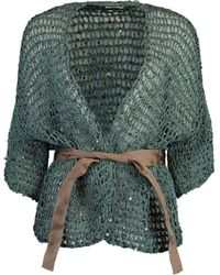 Brunello Cucinelli Open Weave Wax Cotton Belted Cardigan - Green