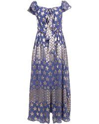 Temperley London Hetty Off Shoulder Dress - Blue