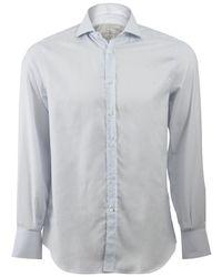 Brunello Cucinelli Window Pane Spread Collar Shirt - Multicolour