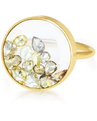 Moritz Glik Round Yellow Diamond Shaker Ring - Metallic