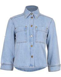 Victoria, Victoria Beckham Cropped Sleeve Denim Jacket - Blue