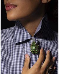 David Webb Green Enamel And Diamond Frog Brooch - Multicolour