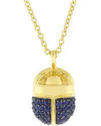 Pamela Love Pave Blue Sapphire Scarab Necklace