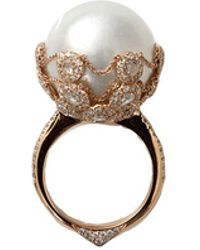 Inbar Pearl Ring With Chain Detail - Multicolour
