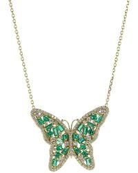 Suzanne Kalan Medium Emerald Butterfly Necklace - Multicolour