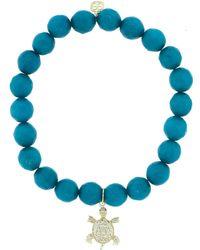Sydney Evan Diamond Pave Turtle Charm Bracelet - Blue