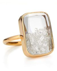 Moritz Glik Rectangular Diamond Shaker Ring - Metallic