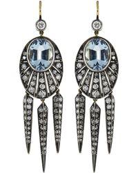 Fred Leighton - Aquamarine And Diamond Rayed Dart Earrings - Lyst