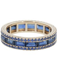 Katherine Jetter Blue Sapphire Baguette Stacking Band Ring