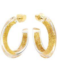 Alison Lou Small Gold Glitter Jelly Hoops - Metallic