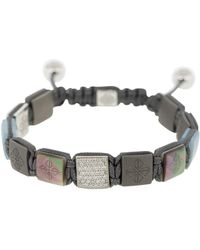 Shamballa Jewels Aquamarine And Black Pearl Titanium Lock Bracelet - Metallic