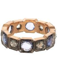 Sylva & Cie Rose Cut Diamond And Sapphire Band Ring - Metallic