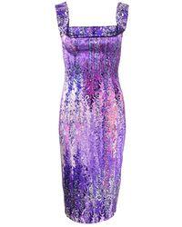 L'Wren Scott Square Neck Floral Cocktail Dress - Purple