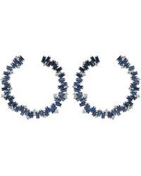 Suzanne Kalan Blue Sapphire Spiral Hoop Earrings
