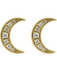 Andrea Fohrman Crescent Moon Diamond Studs - Multicolor