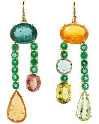 Irene Neuwirth - Emerald & Fire Opal Earrings - Lyst