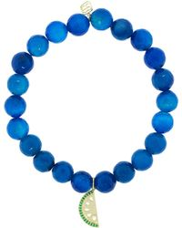 Sydney Evan - Emerald Pave Watermellon Charm Bracelet - Lyst
