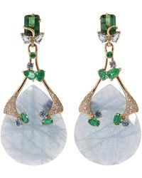 Federica Rettore - Aquamarine, Diamond, And Emerald Costa Paradiso Earrings - Lyst