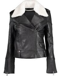 Victoria, Victoria Beckham Shearling Collar Biker Jacket - Black