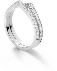 Repossi White Gold Antifer 2 Row Pave Diamond Ring - Metallic