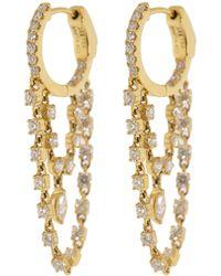 Anita Ko Double Chain Diamond Huggies - Multicolour