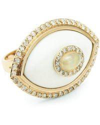 Marlo Laz Eyecon White Onyx And Opal Ring - Metallic