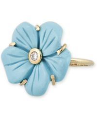 Jacquie Aiche Diamond & Carved Glass Flower Ring - Blue