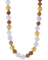 Buddha Mama Chalcedony And Wood Beaded Necklace - Multicolour