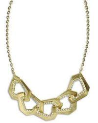 Kavant & Sharart Origami Link No.5 Diamond Brushed Gold Necklace - Metallic