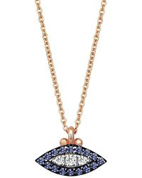 Kismet by Milka 10th Eye Haven Sapphire And Diamond Necklace - Blue