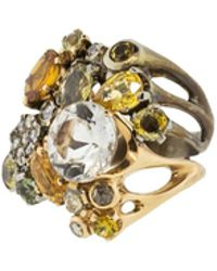Federica Rettore Yellow And Green Sapphire Ring - Multicolor