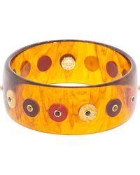 Mark Davis Clear Tortoise And Burgundy Circles Bakelite Bangle - Multicolour