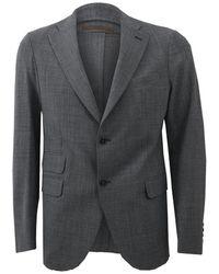 Eleventy Grey Notch Lapel Jacket