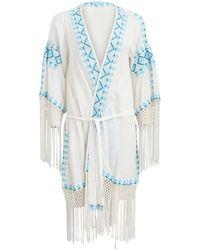 Melissa Odabash Fringe Kimono - Blue