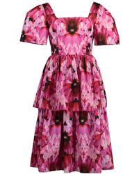 Alexander McQueen Tiered Orchid Print Dress - Pink