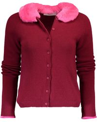 Blugirl Blumarine Cardigan With Fur Collar - Red