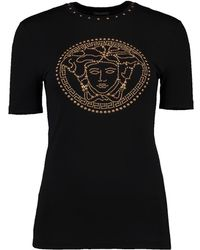 Versace - Globe Gold Stud Logo Tee - Lyst