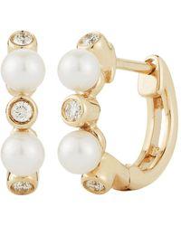 Dana Rebecca Pearl Ivy Huggie Earrings - Multicolour