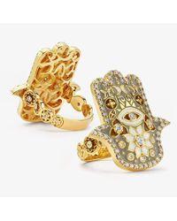 Buddha Mama Grey Enamel And Diamond Hamsa Ring - Metallic