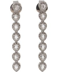 EF Collection - Diamond And White Topaz Teardrop Earrings - Lyst