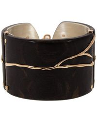 Federica Rettore Alba Ebony Wood And Diamond Cuff - Black