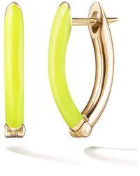 Melissa Kaye Cristina Small Yellow Enamel And Diamond Earrings