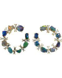 Katherine Jetter Opal And Diamond Crescent Hoop Earrings - Multicolour