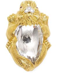 David Webb Rock Crystal Lion Brooch - Metallic
