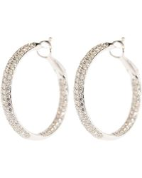 Kwiat Pave Diamond Hoop Earrings - Metallic