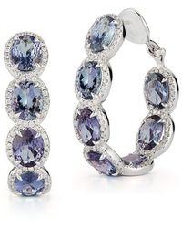 Katherine Jetter Tanzanite & Diamond Hoop Earrings - Blue