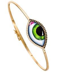 Lito Grand Vert Green Eye Diamond Bangle - Multicolour