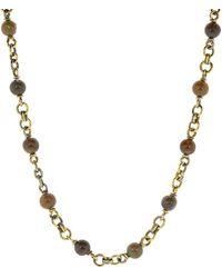 Sylva & Cie Opal Bead Necklace - Metallic