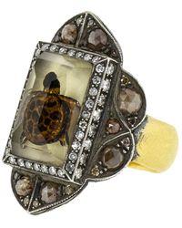 Sevan Biçakci Carved Lemon Topaz Sea Turtle Ring - Metallic